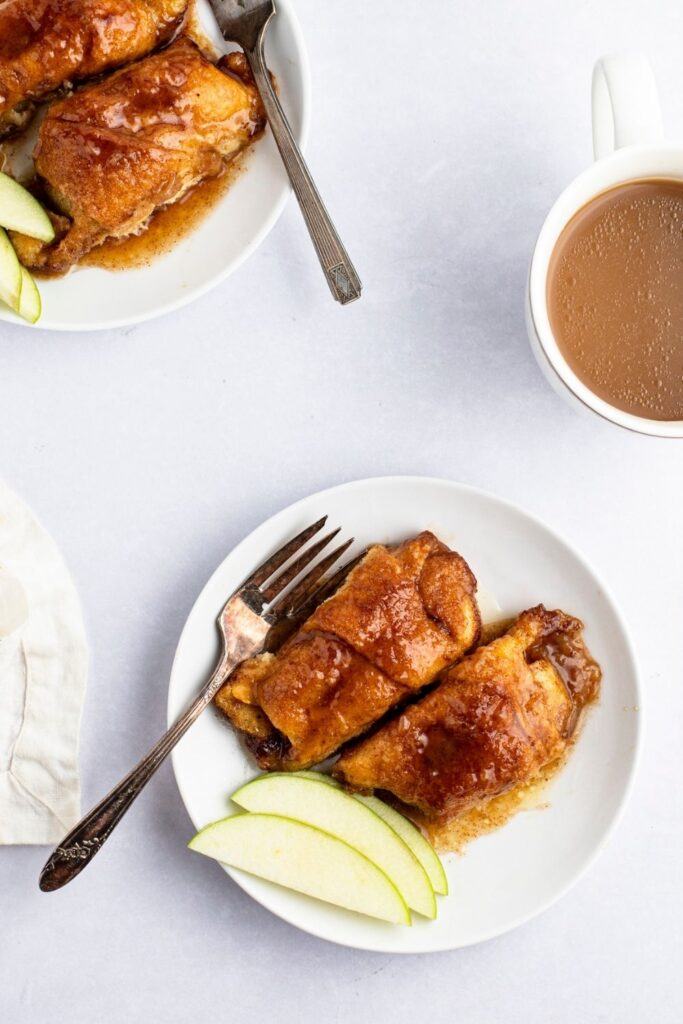Mountain Dew Apple Dumplings with Fresh Slices of Green Apple and Coffee