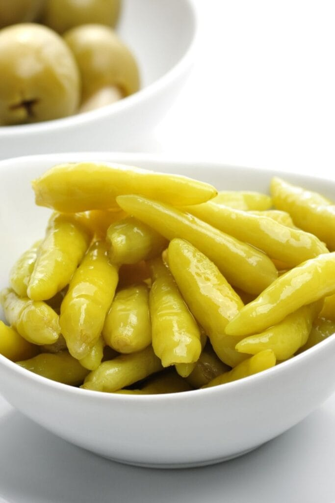 Pickled Banana Peppers in a Bowl