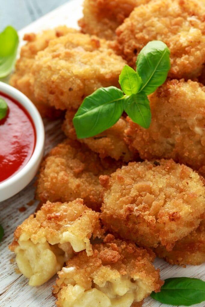Savory Mac and Cheese Balls with Ketchup