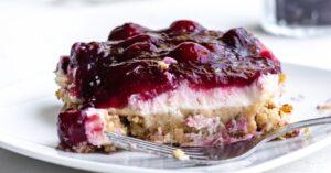 Sliced Cherry Yum Yum Cake in a Plate