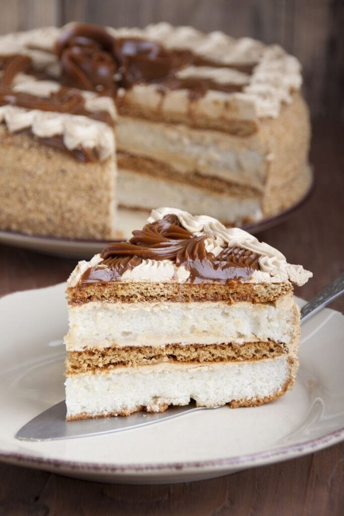 Soft and Sweet Sponge Cake Topped with Dulce De Leche