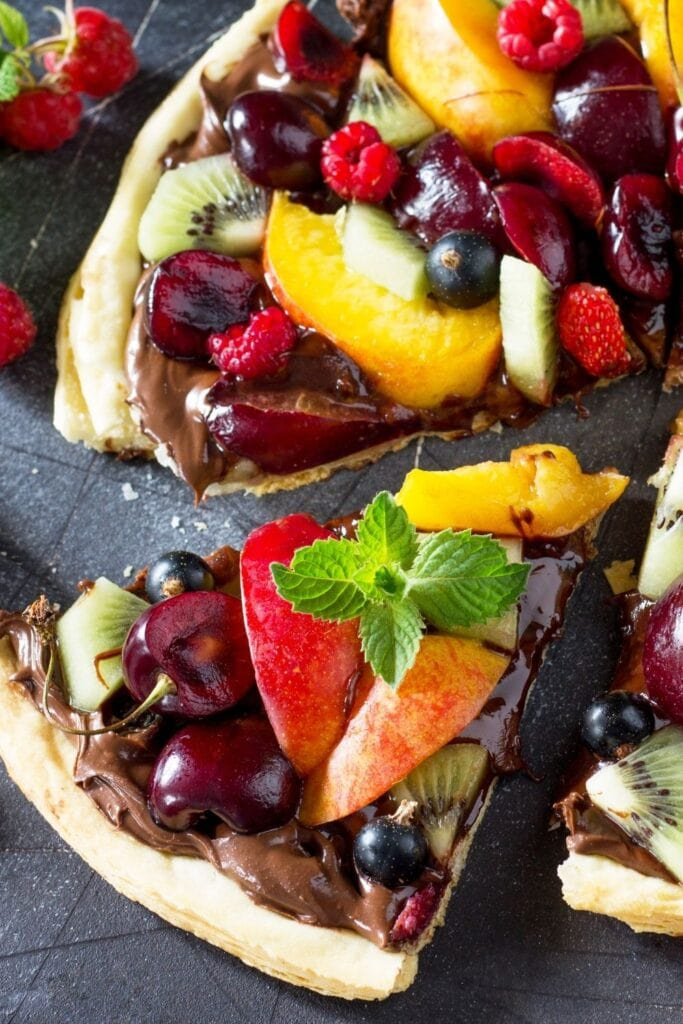 Summer Fruit Berry Pizza with Chocolate