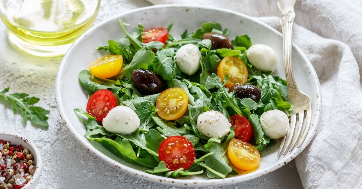 Summer Vegetable Salad with Cherry Tomatoes, Mozzarella and Olives