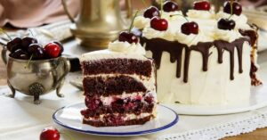Sweet Black Forest Cake Topped With Cherries