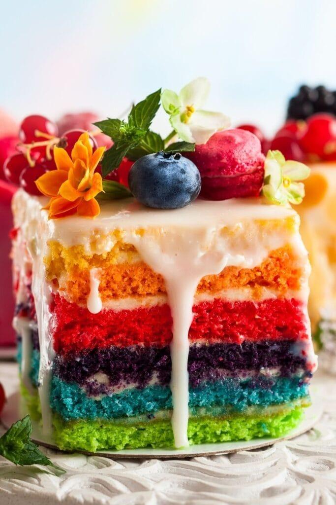 Sweet Rainbow Cake with Berries