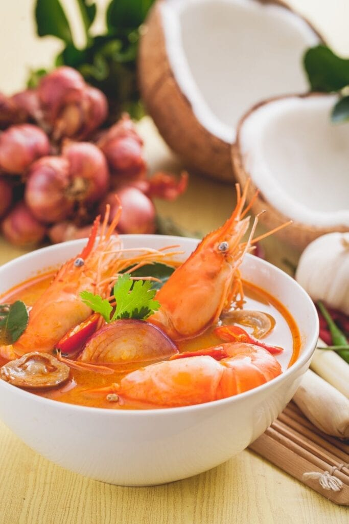 Tom Yum Soup with Shrimp and Vegetables