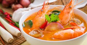 Tom Yum Soup with Shrimp and Vegetables in a Bowl