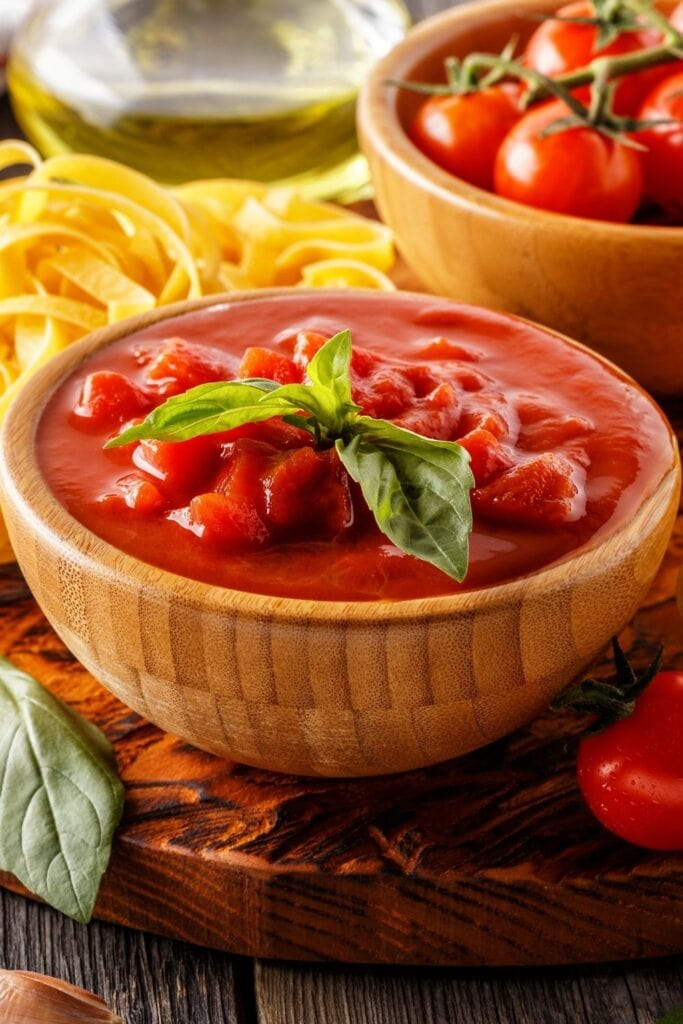 Tomato Sauce with Homemade Pasta and Fresh Tomatoes