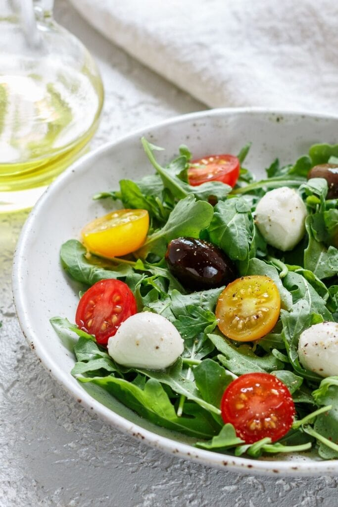 Vegetable Salad with Cherry Tomatoes, Olives and Mozzarella
