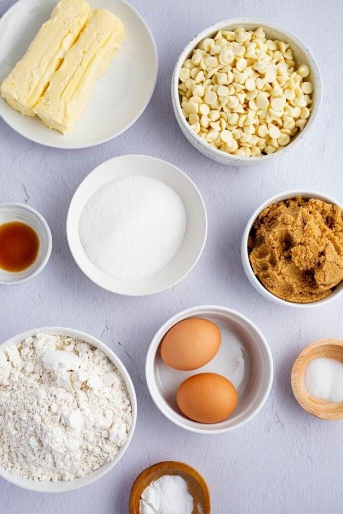 White Chocolate Chip Cookie Ingredients: Flour, Butter, Egg, Cookie Dough and White Chocolate Chips