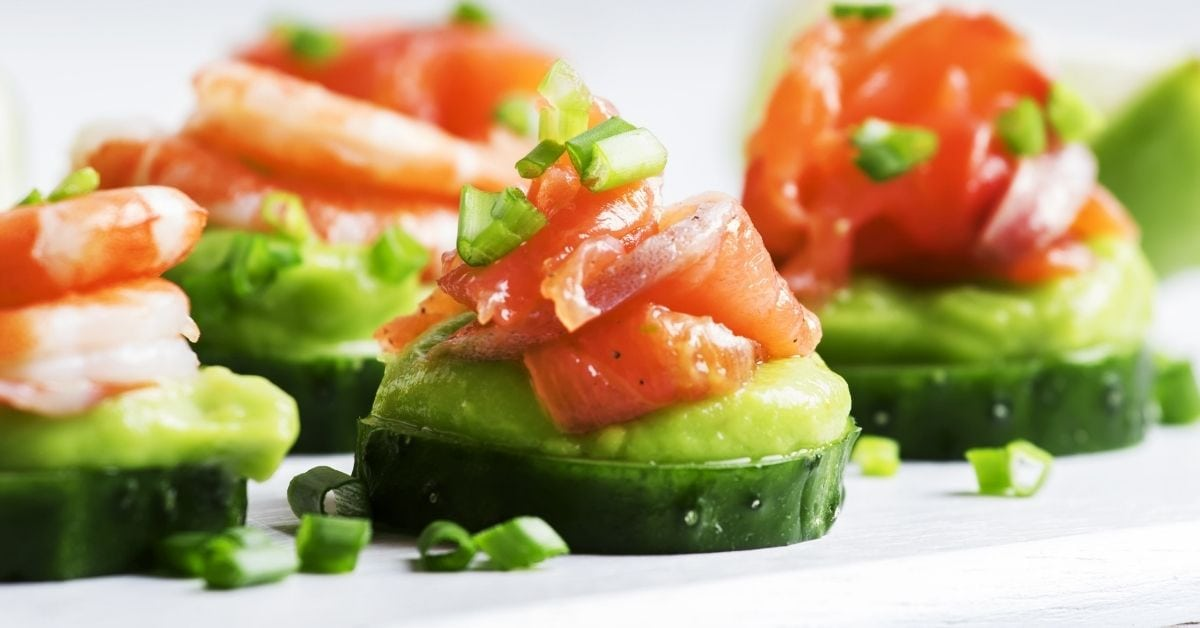 Appetizing Cucumber Canape with Shrimp and Guacamole