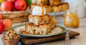 Apple Walnut Blondie Bars with Sweet Ice Cream