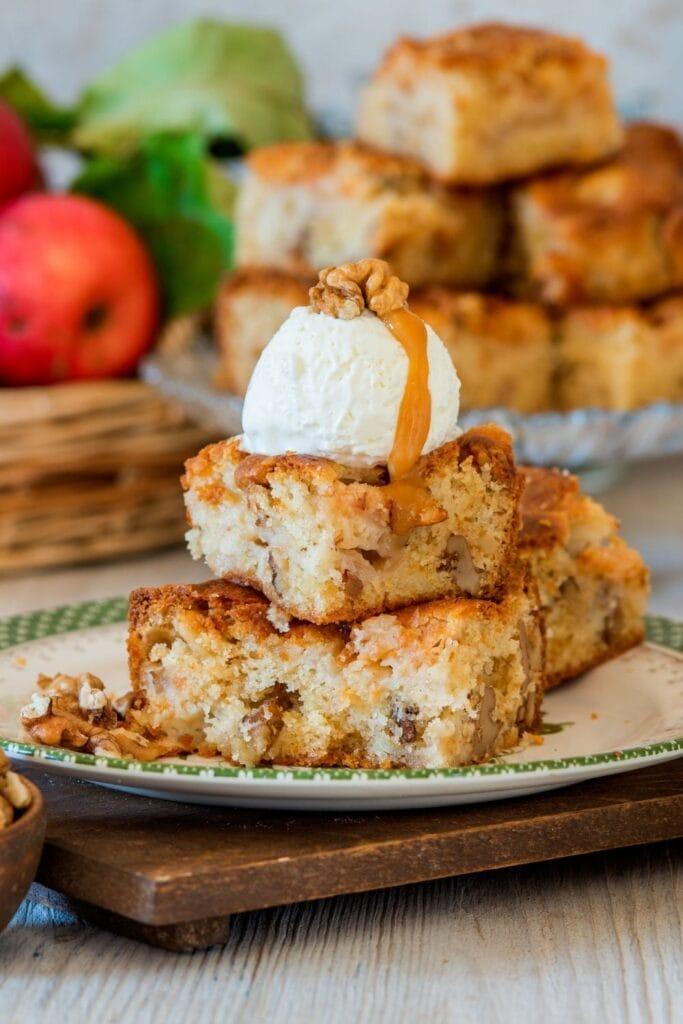 Apple White Chocolate Blondie Bars with Ice Cream and Walnuts