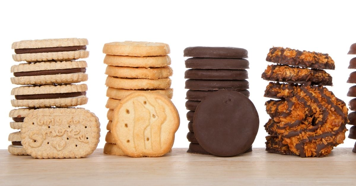Assorted Girl Scout Cookies: S'mores, Peanut Butter Cookies, Think Mints and Samoas