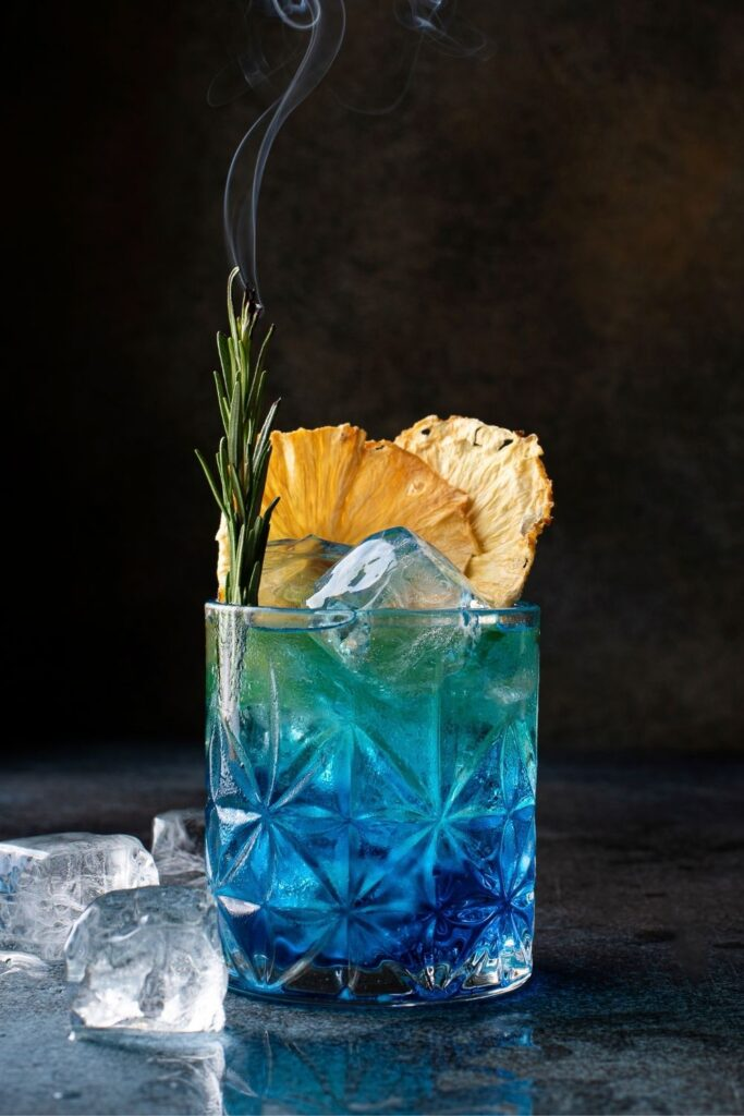 Blue Curacao Cocktail in a Glass