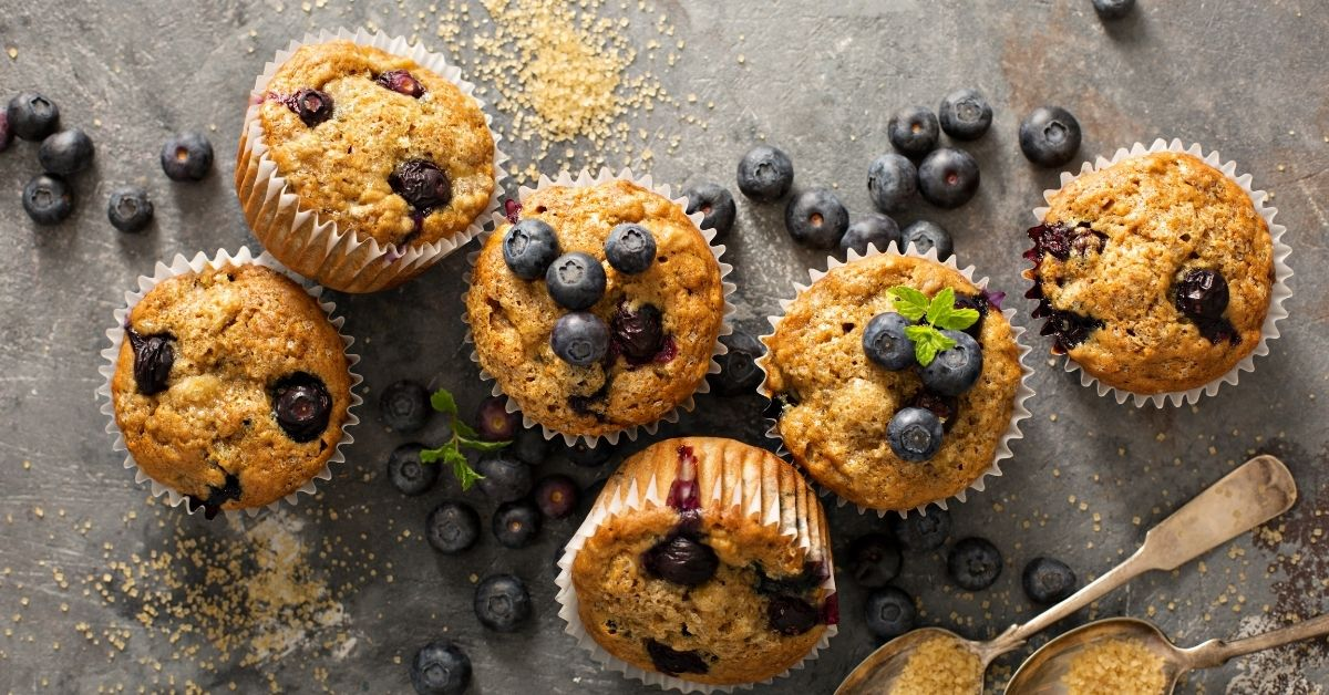 Bluebrry Muffins Topped with Blueberries