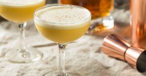 Bourbon Egg Flip Cocktail with Nutmeg