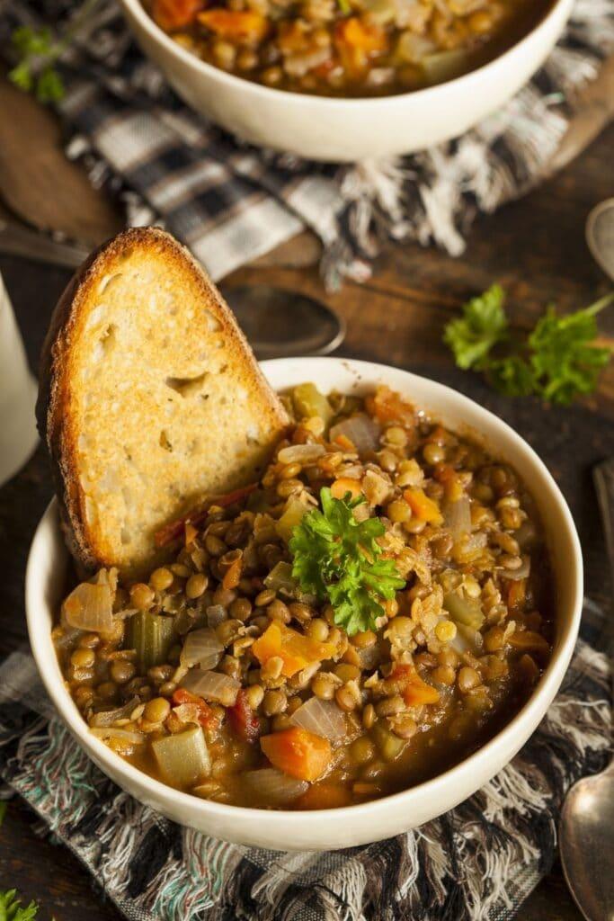 Bowl of Lentil Soup with Bread