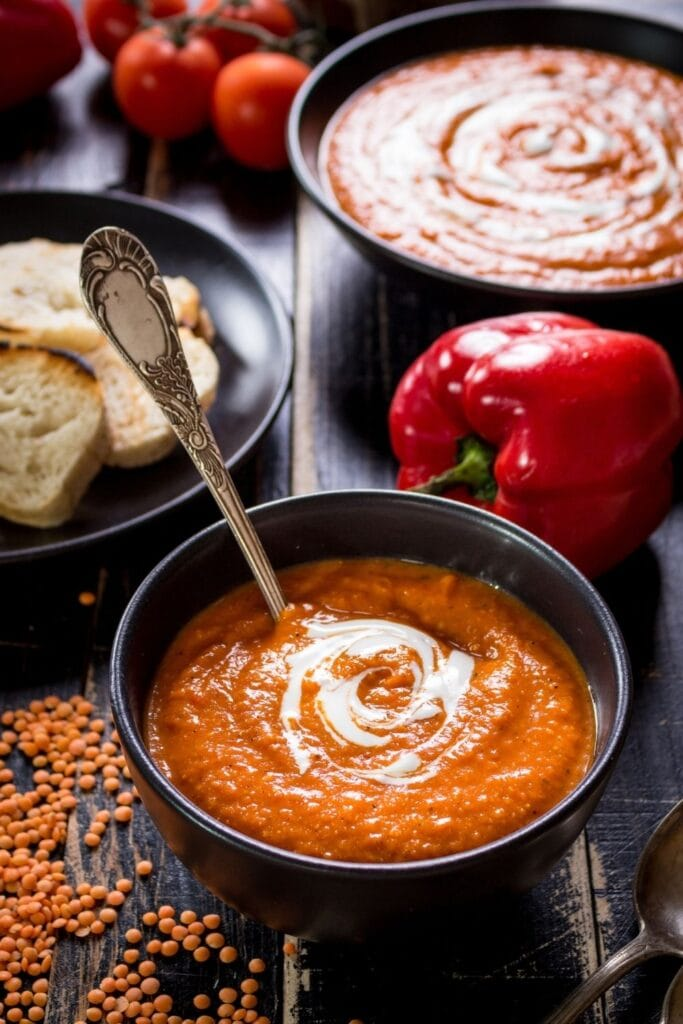 Bowl of Tomato Soup with Bread