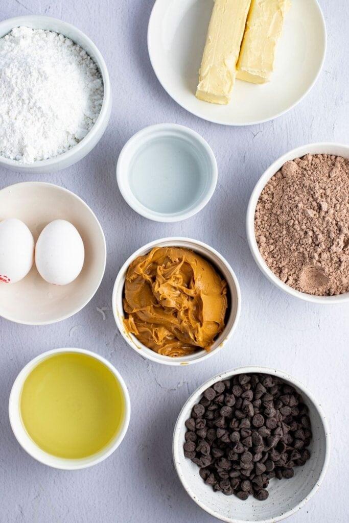 Buckeye Brownie Ingredients: Chocolate Chips, Peanut Butter, Eggs, Sugar and Brownie Mix