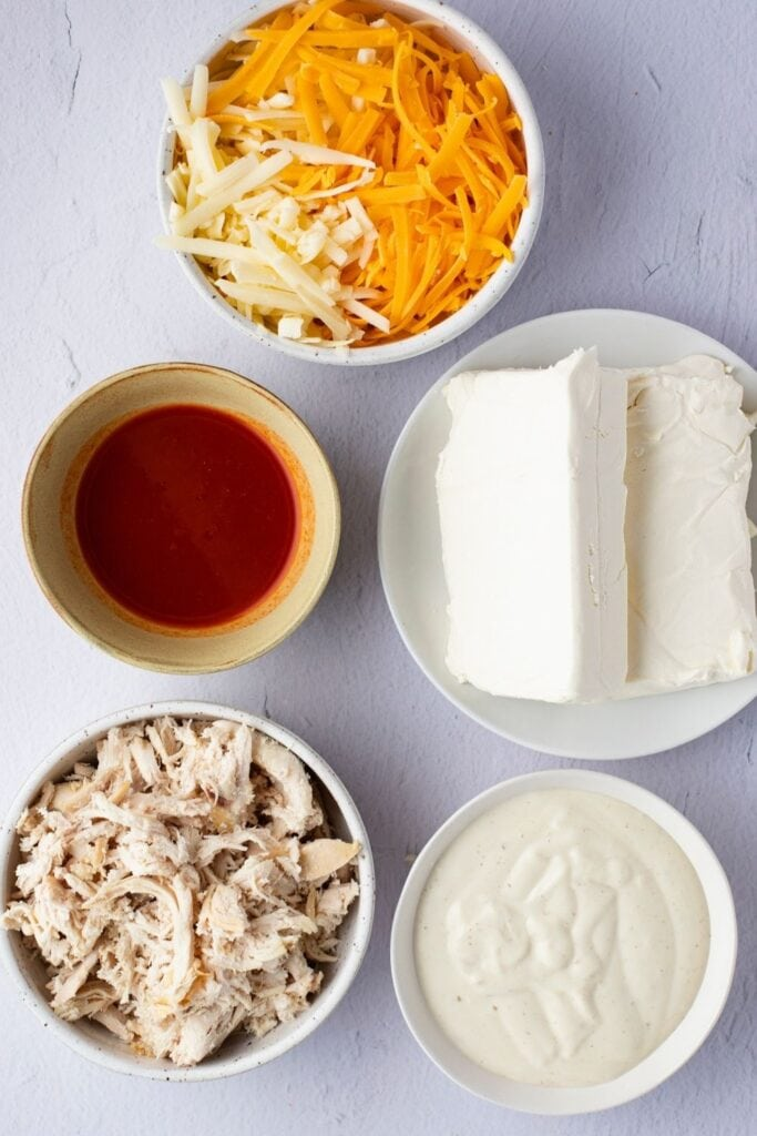 Buffalo Chicken Dip Ingredients: Red Hot Sauce, Chicken, Celery, Blue Cheese and Cream Cheese