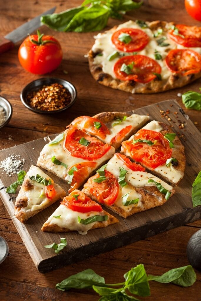 Cheesy Pizza Flatbread with Tomatoes