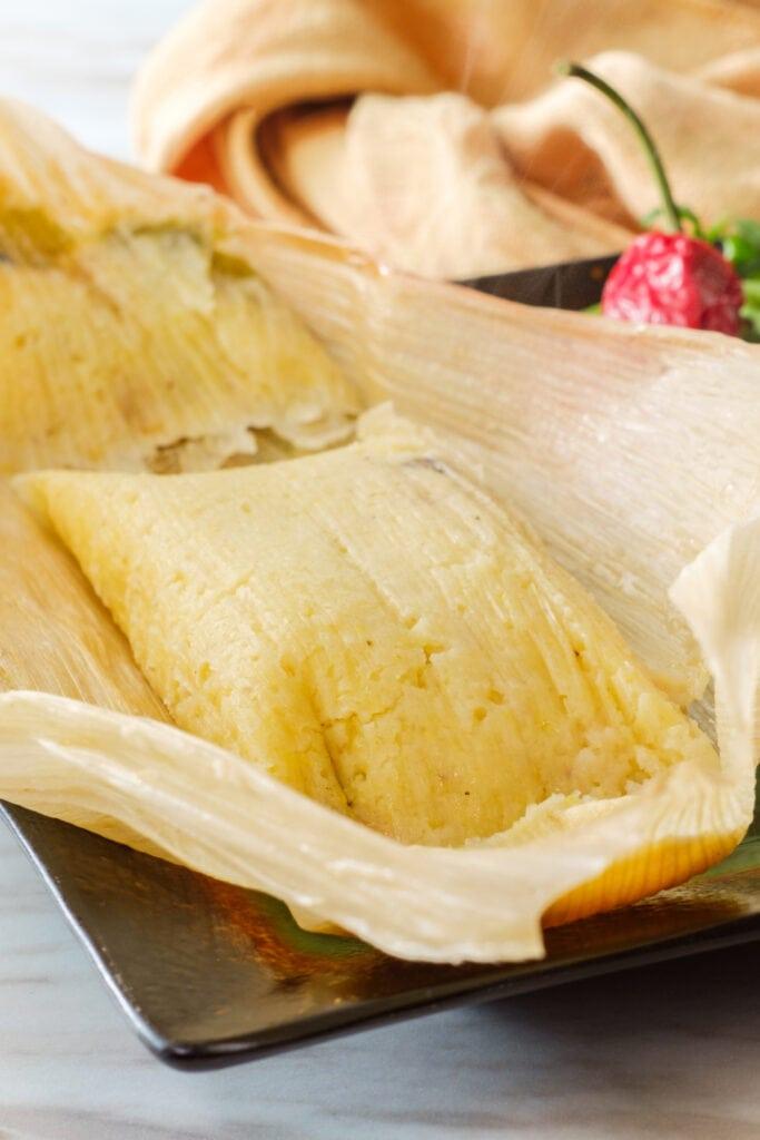 Cheesy Tamales in a Corn Husk