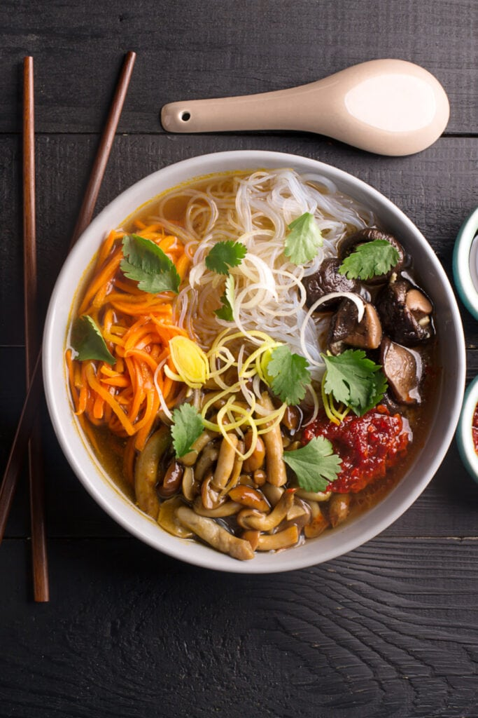 Chinese Noodle Soup with Mushrooms and Vegetables