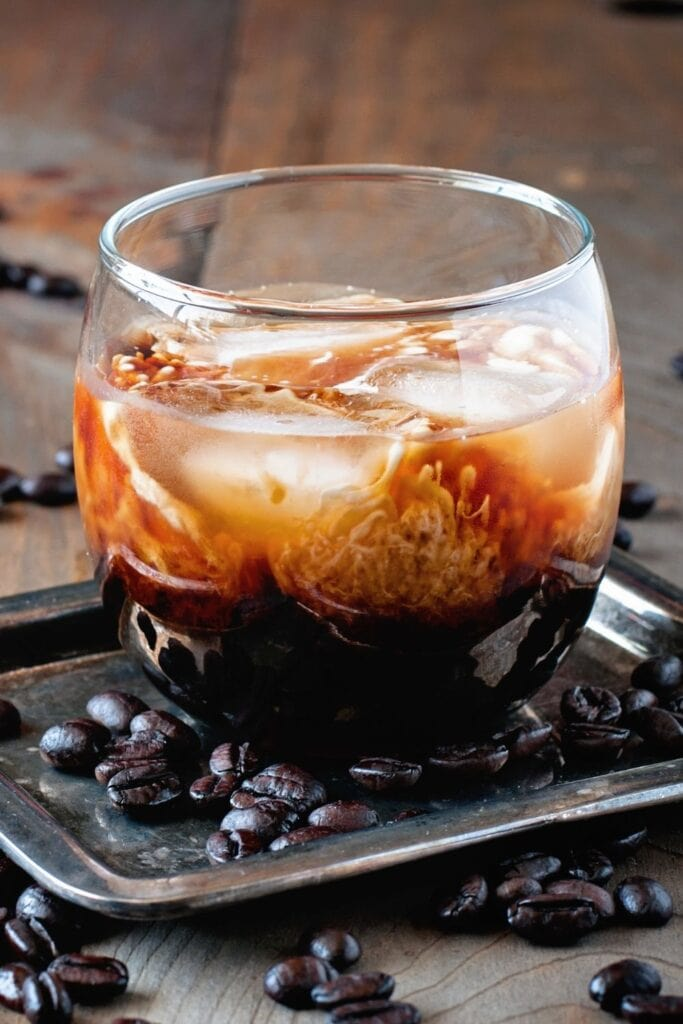 Coffee Cocktail with Cream and Coffee Beans