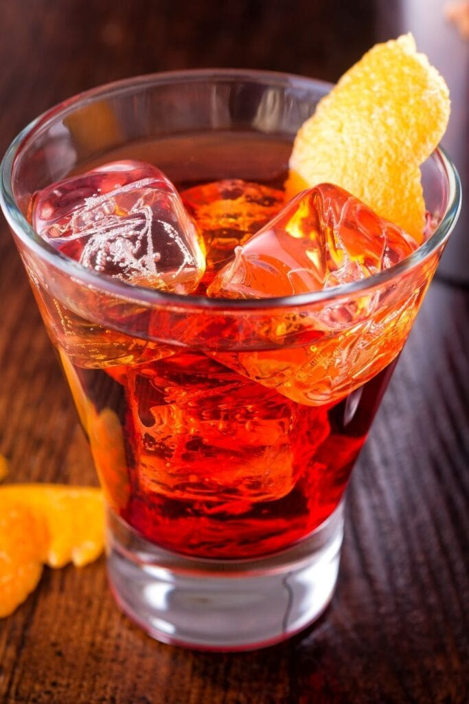 Cold Red Negroni Cocktail