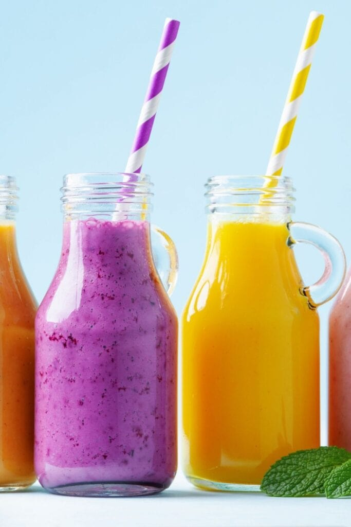 Cold Smoothies in a Glass Jar