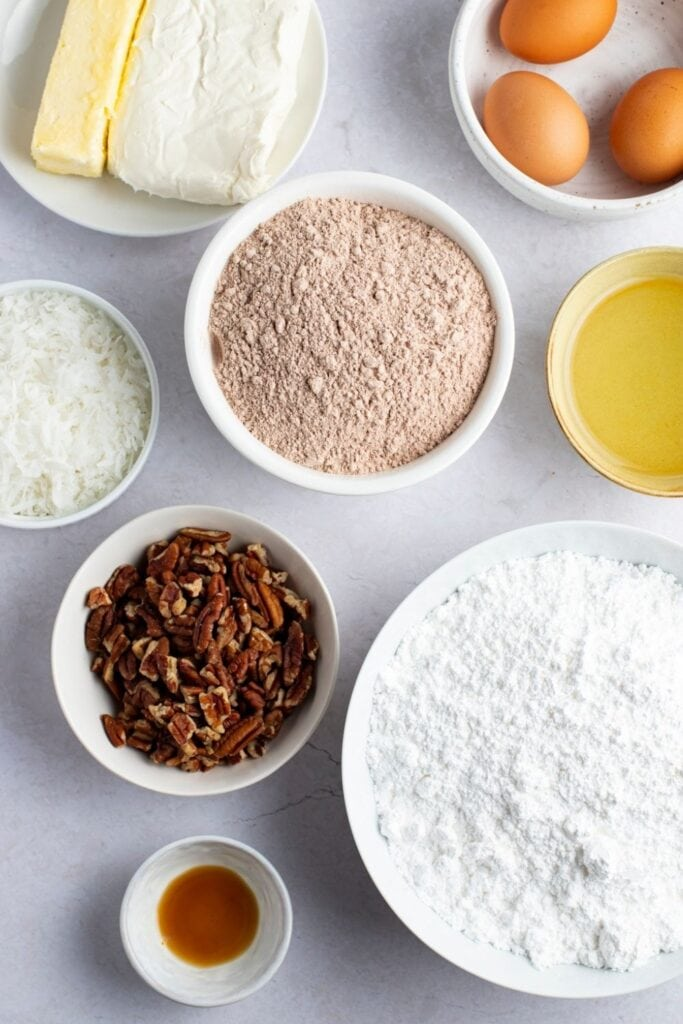 Earthquake Cake Ingredients: Flaked Coconut, Chocolate Cake Mix, Chopped Pecans, Cream Cheese, Powdered Sugar and Vanilla Extract