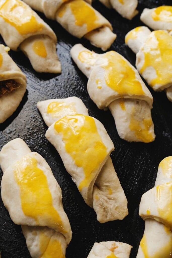 Egg Glazed Cheese Crescent Rolls