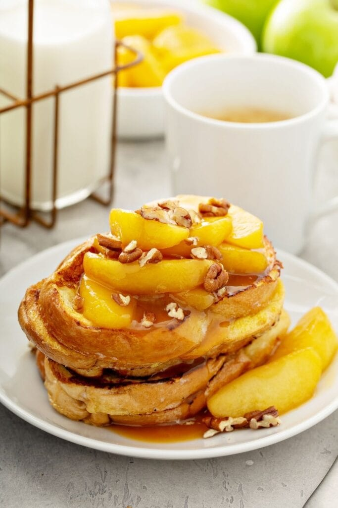 French Toast with Fried Apples, Maple Syrup and Walnuts