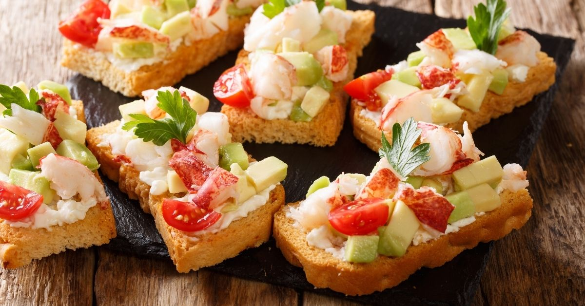 Gourmet Sandwich with Lobster Meat, Tomatoes, Cream Cheese and Avocados
