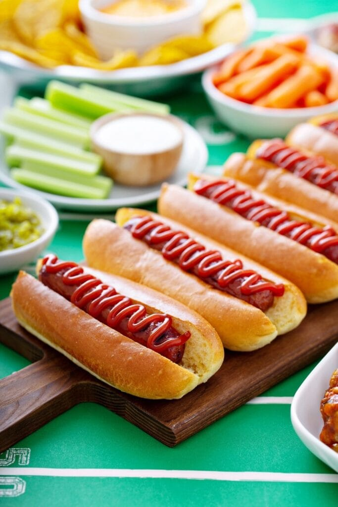 Grilled Hot Dog Sandwiches with Ketchup