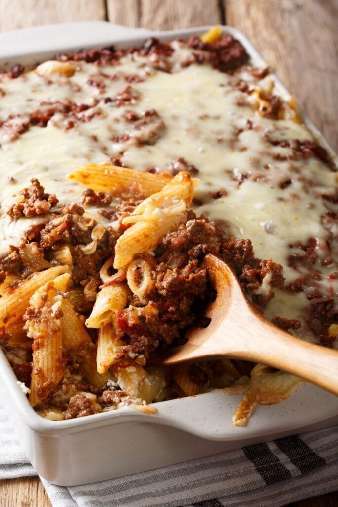 Ground Beef Casserole with Cheese and Penne Pasta