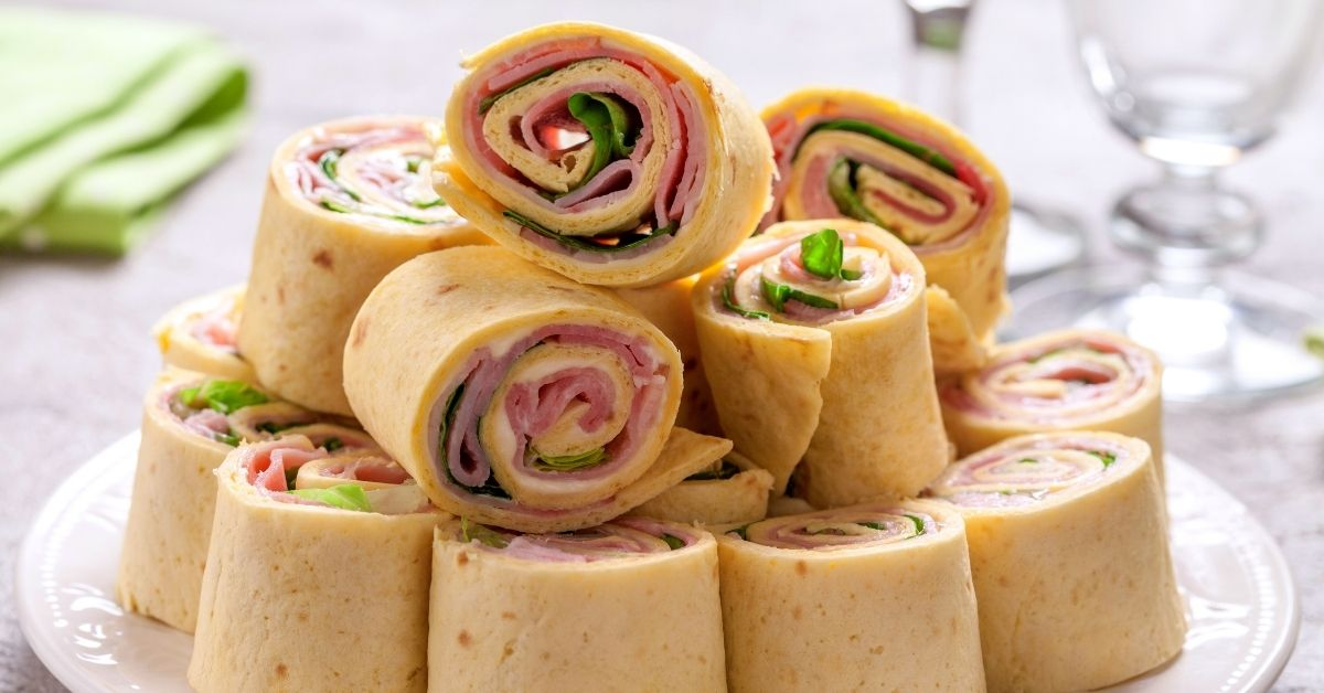 Ham and Cheese Pinwheels with Lettuce