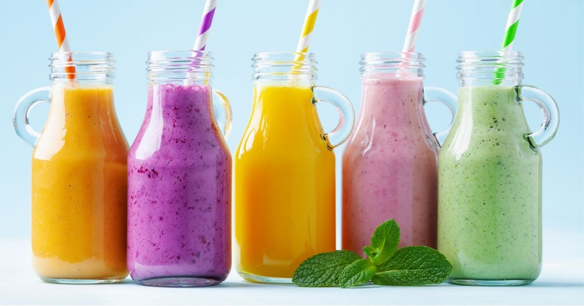 Healthy Colorful Smoothies on Jars