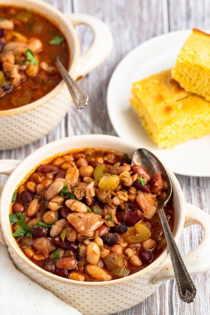 Homemade 15 Bean Soup with Cornbread