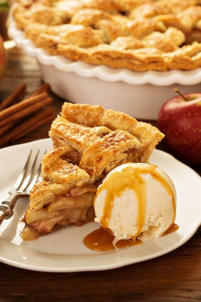 Homemade Apple Pie with Caramel and Ice Cream