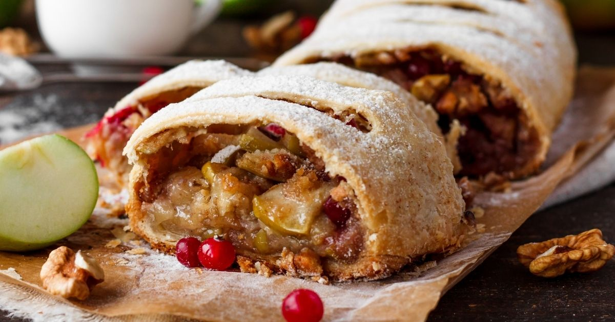 Homemade Apple Strudel with Cranberries and Walnuts