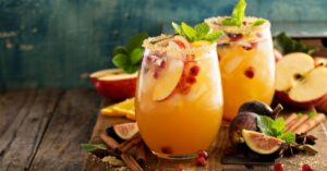 Homemade Apple and Sangria Cocktail with Figs