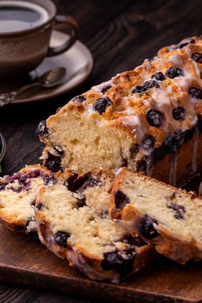 Homemade Blueberry Cake with a Cup of Coffee