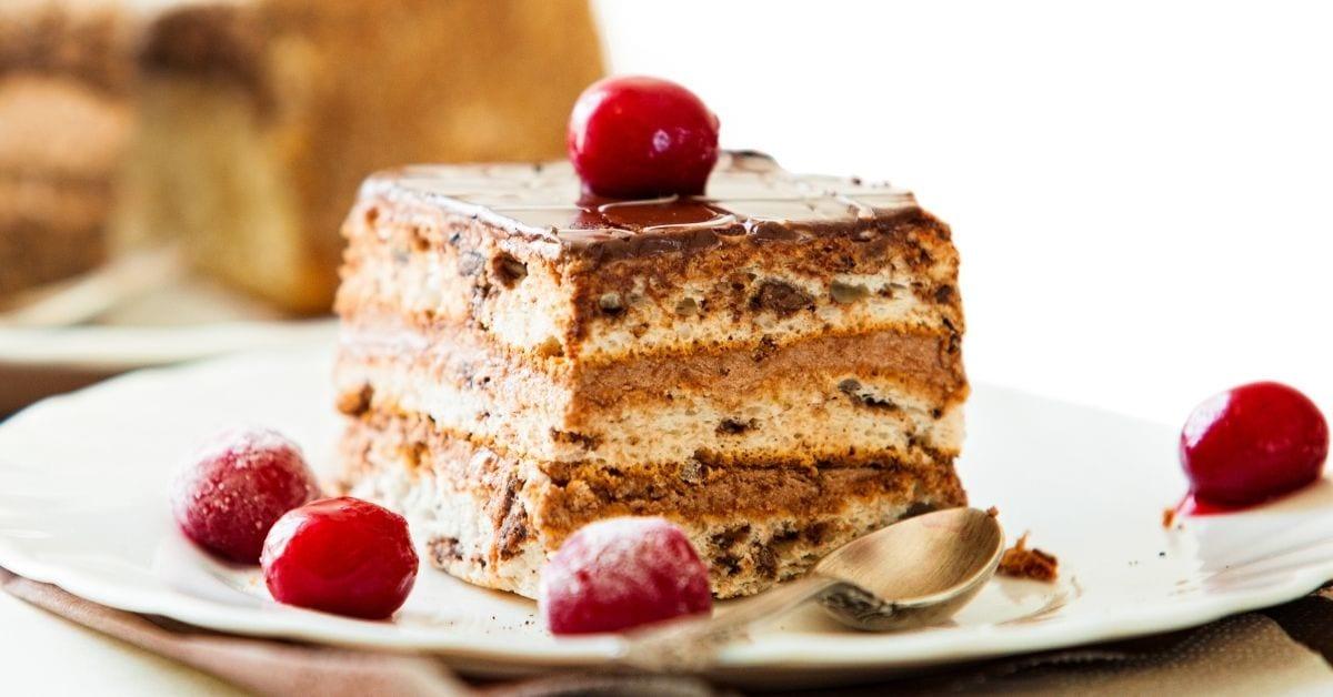 Homemade Chocolate Cake with Frozen Wine Cherry