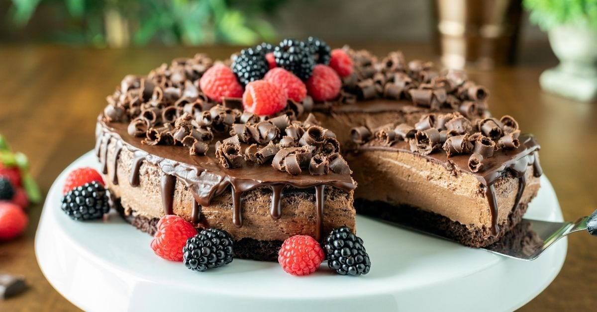 Homemade Chocolate Mousse Cake with Berries