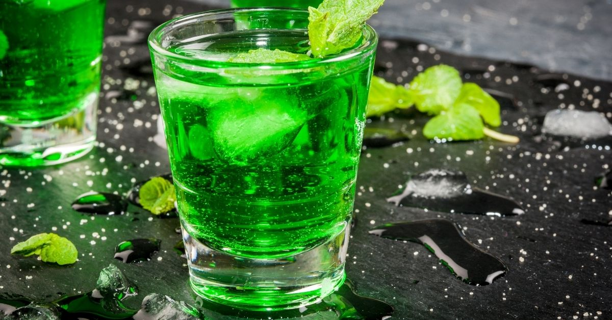 Homemade Cold Mint Cocktail in a Glass