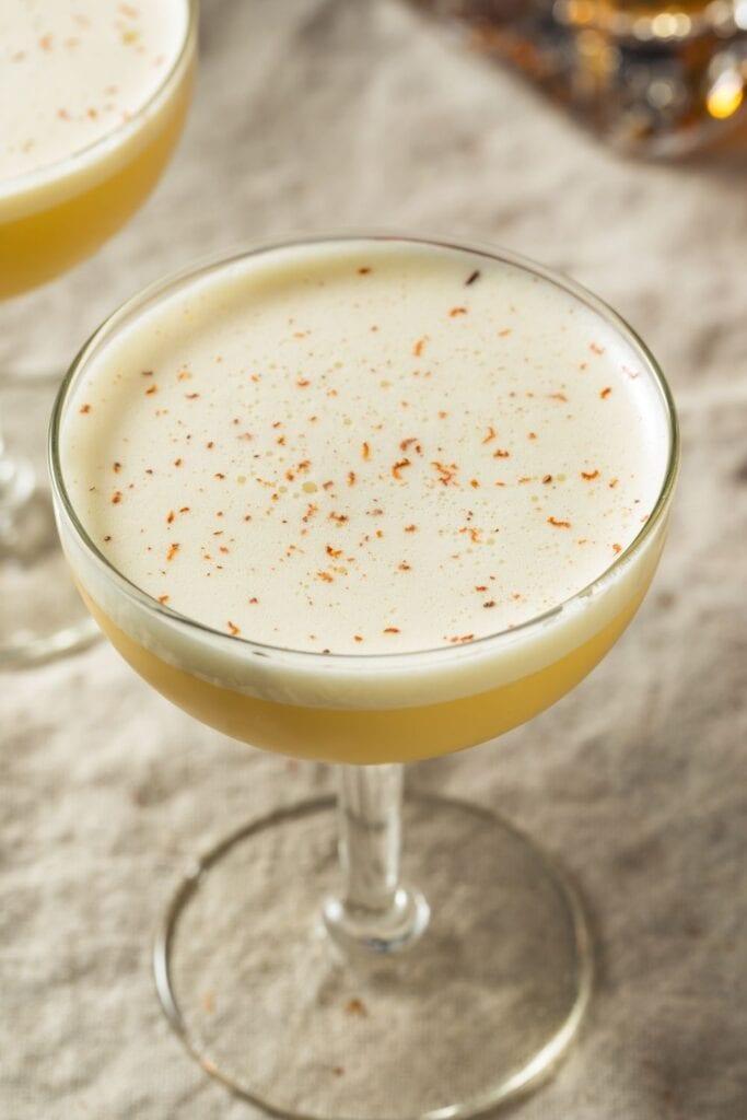 Homemade Eggnog Cocktail with Nutmeg