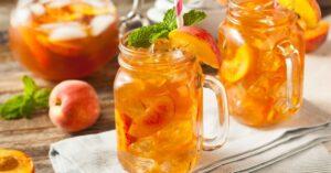 Homemade Fresh Sweet Peach Tea with Mint