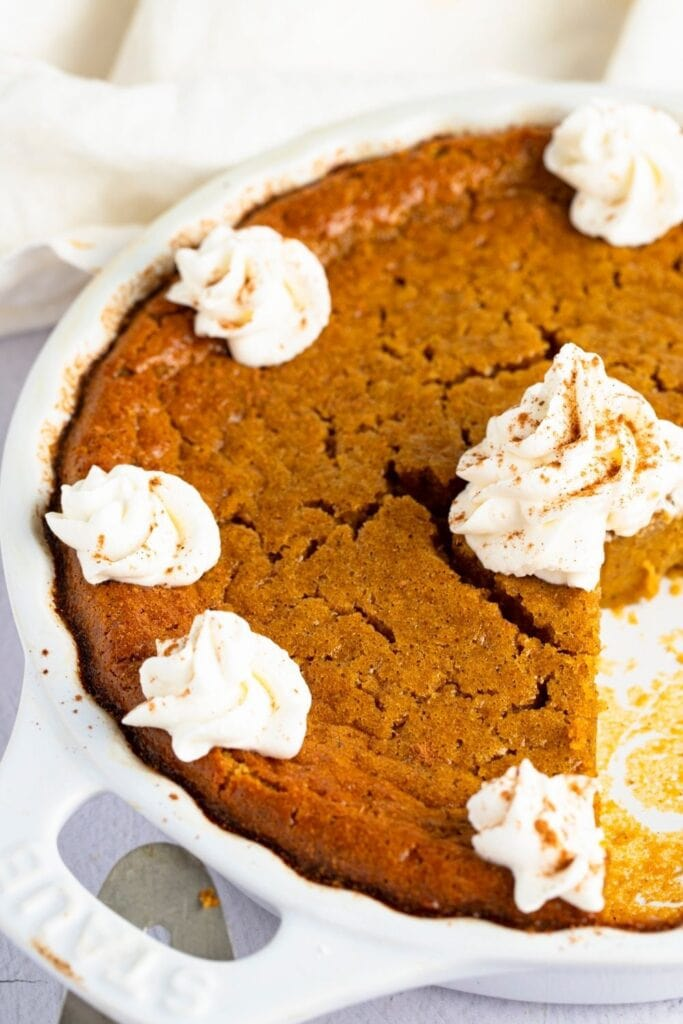 Homemade Impossible Pumpkin Pie with Whipped Cream